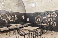 Contemporary wall decoration: Ridola Caffè by Manca Studio in Matera, Italy.