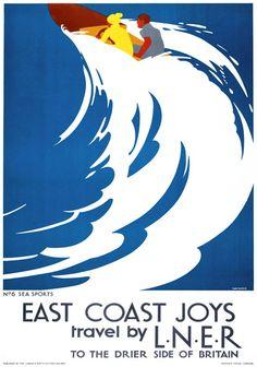 East Coast Joys No 6 - Sea Sports. LNER Vintage Travel Poster by Tom Purvis. 1931//.,mar16
