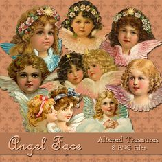 Angel Face PNG Files by AlteredTreasures on Etsy