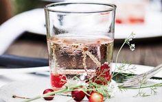 En perfekt velkomstdrink med vodka, rosé og danskvand.