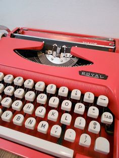 Vintage Cursive Typewriter Coral Red 1960's Royal by ZealousStyle, $320.00
