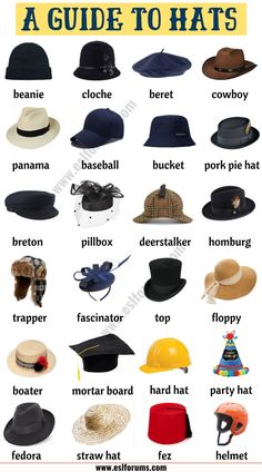 Types of Hats: List of 20 Hat Styles with ESL Picture - ESL Forums - İnteresting İnformation And Curiosities Fashion Terminology, Fashion Terms, Fashion Infographic, Types Of Hats, Fashion Dictionary, Fashion Vocabulary, Illustration Mode, Men Style Tips, English Vocabulary