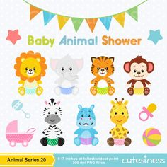 Baby Animal Clipart Baby Jungle Animals Clipart por Cutesiness