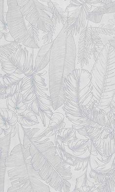 White Tropical Leaves Wallpaper R6090 - Base