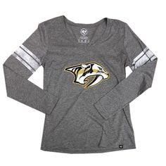 dffea81f4cb '47 Brand Women's Nashville Predators KA Club Long Sleeve Shirt (Grey)  Predators Hockey