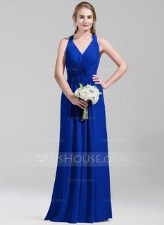 A-Line/Princess V-neck Floor-Length Chiffon Bridesmaid Dress With Ruffle (007072792)
