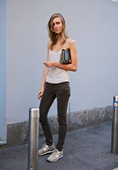 Liking the skinnies with neutral sneakers looks.  Would like it better with ankle pants or rolled up boyfriend jeans.