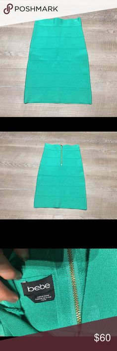 Bebe teal Green Bandage Bodycon Mini skirt XS ✨(❁´◡`❁) ωḙℓḉ✺Պḙ (❁´◡`❁)✨      🦋Description:      •Beautiful Teal / Green Stretch fabric  •Knee length  •Exposed zipper  •Very comfy, sexy fit.      ✨      🦋Brand: Bebe       🦋Size: XS (women's)      🦋Condition: Excellent preowned shape. No holes or stains. Worn once.       (please refer to all photos Don't hesitate to ask ANY and ALL question before Bidding/Buying)      Ask about combined shipping and discounts! bebe Skirts Mini
