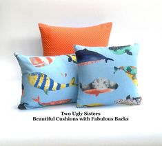 Whale Seaside Nursery Cushion for Kids Child Pillow Nautical Whale Print Fabric Microfibre Pillow Two Ugly Sisters Free Shipping Nautical Theme Decor, Seaside Decor, Kids Pillows, Blue Pillows, Whale Print, Kids Play Area, Calming Colors, Polka Dot Fabric, Cushion Pads