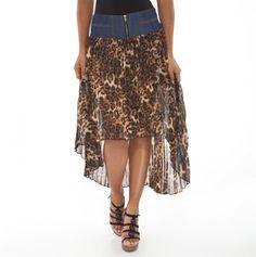 Asymmetrical Hem Skirt with Denim Waist - Must Have Fashions - Events