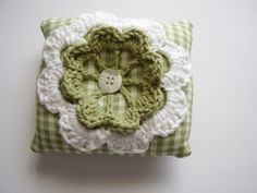 Pincushion, mini pillow made of gingham fabric and cotton yarn with crochet flower applique, Green, white. $18.00, via Etsy.