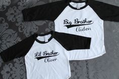 BIG brother LITTLE brother set - Kid's personalized NAME raglan baseball shirts - infant/ kids sizes. $40.00, via Etsy.