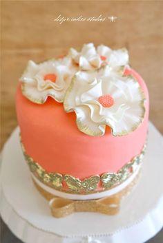 Little Peach Cake with Gold Butterflies