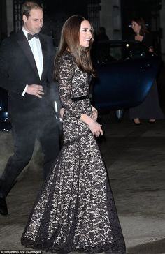 Glamorous: The Duchess of Cambridge donned a black lace Temperley dress to attend a film screening with husband Prince William
