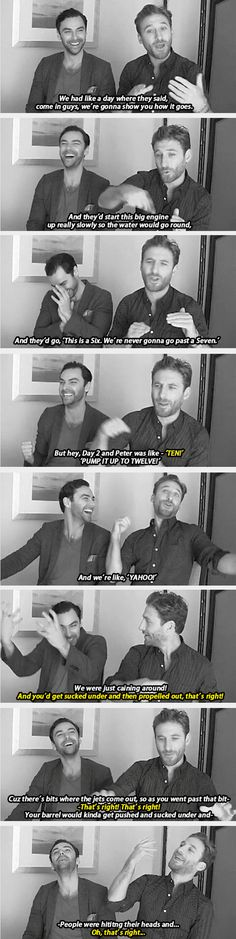 dean o'gorman and aidan turner on filming the barrel sequence <---> they seem like they had a really good time almost dying lol
