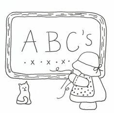 Sunbonnet Sue Primitive Alphabet Stitchery Pattern LQC-S14 by Little Quilts - Mary Ellen Von Holt. Make a little calendar quilt, embellish a pillowcase, decorate a shirt or sew a fabric greeting card.