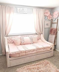 How Sweet is this room? 💕Isn't it just magical? And look at those adorable paper flowers that made herself? Vintage Blush twin size is back in stock! Quantity is limited though, so order now before they're gone! Girl Room, Girls Bedroom, Bedroom Decor, Girls Daybed Room, Girls Pink Bedding, Bedroom Ideas, Master Bedroom, Bedrooms, Fantasy Bedroom