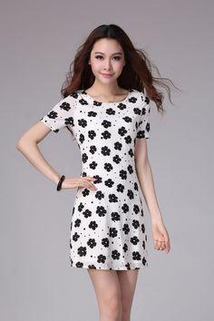 94e933f763e9 White Flower Asian Slim Chiffon Plus Size Dress