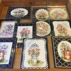 Art Impressions Wonderful Watercolor.  Handmade water color cards. milk cans, pots, flowers, bird house, foliage