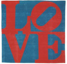ROBERT INDIANA (B. 1928) Red on Blue Love Estimate: USD 3,000 - 5,000 DESCRIPTION ROBERT INDIANA (B. 1928) Red on Blue Love wool rug in colors, 1995, signed in black felt-tip pen on a fabric label on the reverse, numbered 77/175, published by Master Contemporary Original Artist Rugs