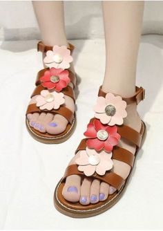 69003ca6f3a0a3 Flower Buckle Strap Flat Sandals newyear gifts gift shoes Stylish Shoes For