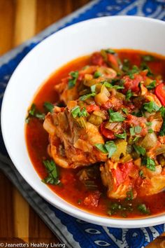 Clean Eating Slow Cooker Creole Chicken Stew | thegraciouspantry.com