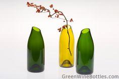 Green Wine Bottles - Vases