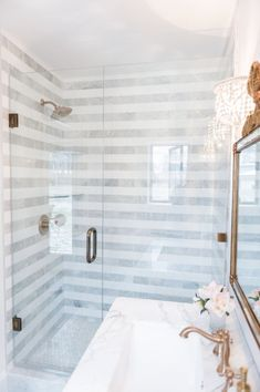 Love The This Shower And The Gray And White Tile Chevron