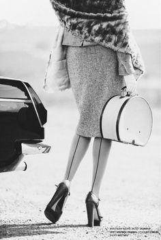 fur wrap + tweed skirt
