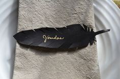 Black feather gold fine point permanent marker placecard
