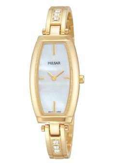 Ladies watch designed with a gold-tone stainless steel case and bracelet, featuring 6 Swarovski crystals.  Mother of pearl dial. 30 meters water resistant. PM2056 www.pulsarwatchesusa.com