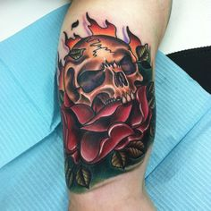 Skull and Rose Tattoo - Best Skull Tattoos For Men: Cool Skull Tattoo Designs and Ideas For Guys Small Skull Tattoo, Skull Sleeve Tattoos, Sugar Skull Tattoos, Skull Tattoo Design, Best Sleeve Tattoos, Tattoo Designs Men, Rose Tattoos For Men, Cool Tattoos For Guys, Full Sleeve Tattoo Design