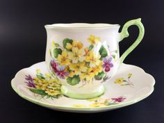 Royal Albert, Primulette, Bone China Teacup, Tea Cup and Saucer, Hampton Shaped…