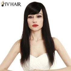 Women's Fashion Side Bang Siv Hair Natural Straight Human Hair Wig #shoes, #jewelry, #women, #men, #hats