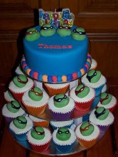 Teenage Mutant Ninja Turtle Birthday Cake and Cupcakes