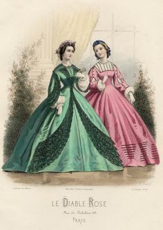 Day dresses, 1860s France, Le Diable Rose... I love the trim, I would continue it all around... Probably a little costly but would be totally worth the look.