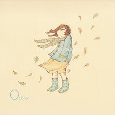 "Children's wall art print--""October In Polka-Dot Wellies"" by Etsy seller sarahjanestudios"