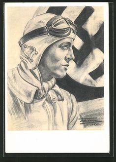 old postcard: Künstler-AK Porträt Flieger in Uniform mit Fliegerhaube, Hakenkreuzfahne