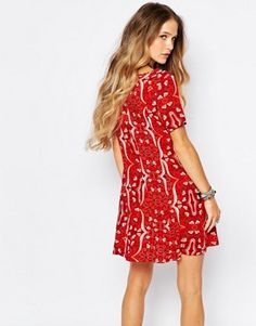 Glamorous Retro Print Tea Dress