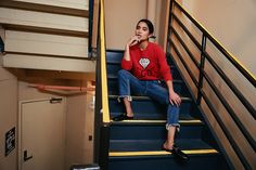 Get this look: http://lb.nu/look/8492503  More looks by Carissa Alvarado: http://lb.nu/weariam  Items in this look:  Gucci Ghost Sweater, Tularosa Straight Leg Jeans   #casual #chic #retro #gucci #sweater #sweaterweather #red #rippedjeans #denim