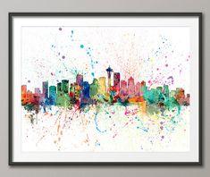Seattle Skyline, Seattle Washington Cityscape Art Print (1957) by artPause on Etsy
