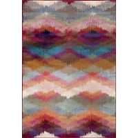 Multicolored Polypropylene Distressed Modern Geometric Soft Area Rug (9' x 12')