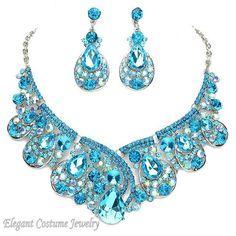 Malibu Turquoise Blue Formal Prom Necklace Set Elegant Wedding Jewelry  #ElegantCostumeJewelry #StatementJewelryChunky