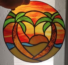 Read the full title Sunset Love | Stained Glass Suncatcher | Palm Tree Sunset
