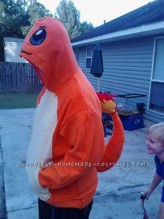 Cool DIY Charmander from Pokemon Hoodie Costume... Coolest Homemade Costumes. http://cadenceaz.com/blog/top-costumes-pinterest-adults-families/