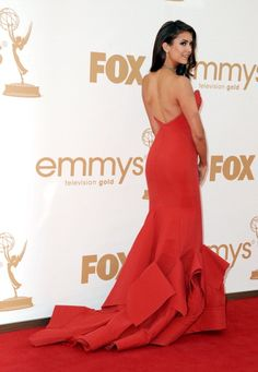Nina Dobrev Wearing Donna Karan Red Dress - 2011 Emmy Awards ...