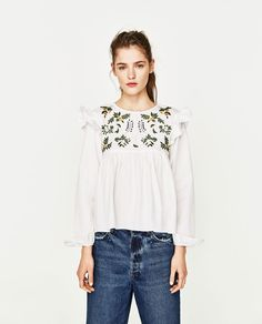 ZARA - WOMAN - SHIRT WITH EMBROIDERED FLOWER