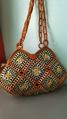 Price: $95.00 Quantity: 1 available Brand: Handmade Bag Height: 8 to 10 inches Strap Drop: 13 inches Bag Depth: 3 inches Material: nylon # 9  Color: Olive/Bronze/Gold Style: Shoulder Bag Texture: Crocheted/Knitted Pattern: Geometric Size: Medium Bag Length: 15 inches Features: Magnetic Snap