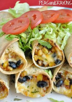 Vegetarian Black Bean + Sweet Potato Flautas @peasandcrayons