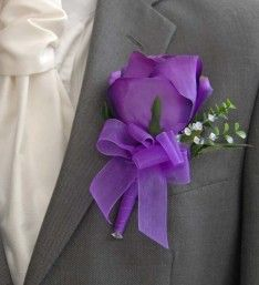 Grooms Large Artificial Purple Silk Rose Buttonhole with Crystals and Green Foliage.